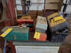 """19"""" STANLEY TOOLBOX & (3) ASSORTED TOOLBOXES WITH LEVEL, GAUGES, ELECTRICAL CONNECTORS, ALLEN"""