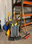 RUBBERMAID WASTE CAN W/ BROOMS, MOP BUCKET, ULINE DUST PANS