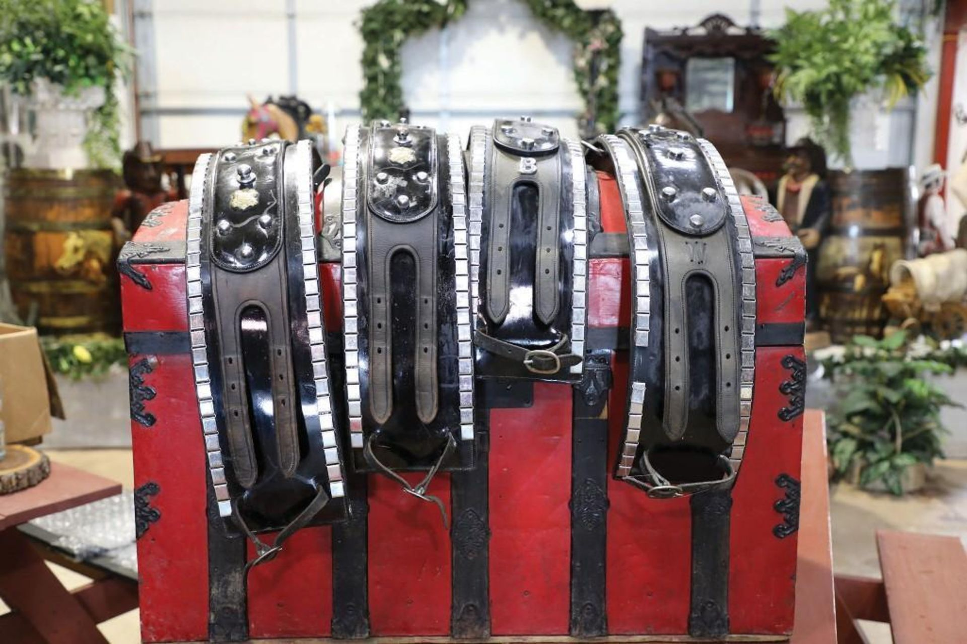 """4-Up Leather Harness, Draft Size, Tag Reads """"CF TODDS MAKER MARKHAM"""""""