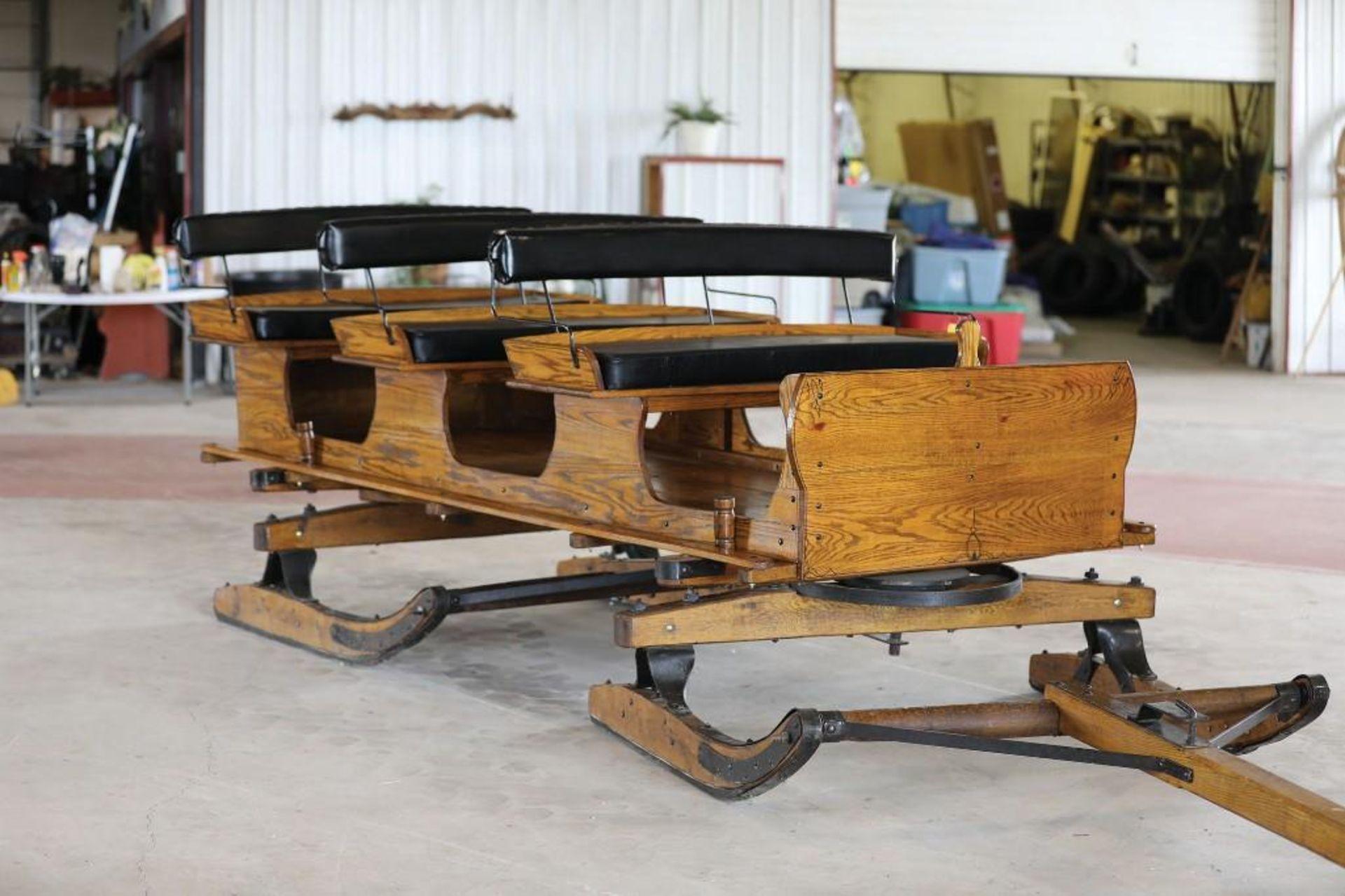 3-Seat Oak Bobsled - Image 2 of 2