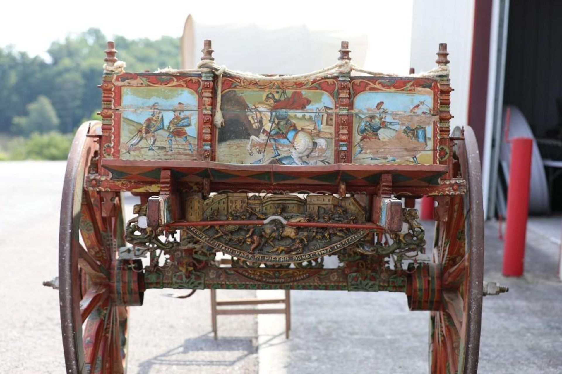 SPANISH GYPSY 2-Wheel Cart, Hand Carving & Paint - Image 3 of 3