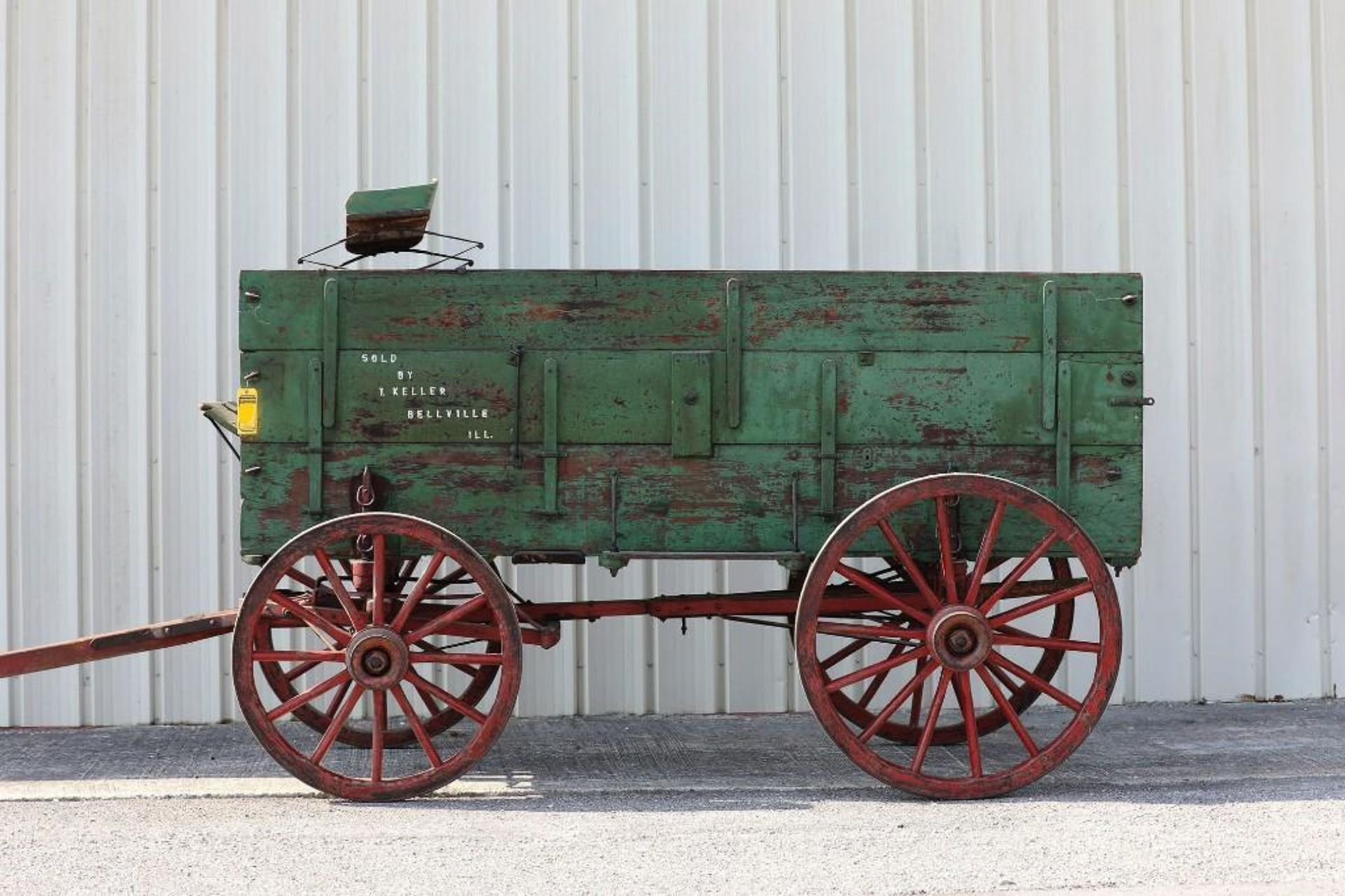 T. KELLER 3-Board Box Wagon, Manufactured in Belleville, Illinois. Seat will sell separate.