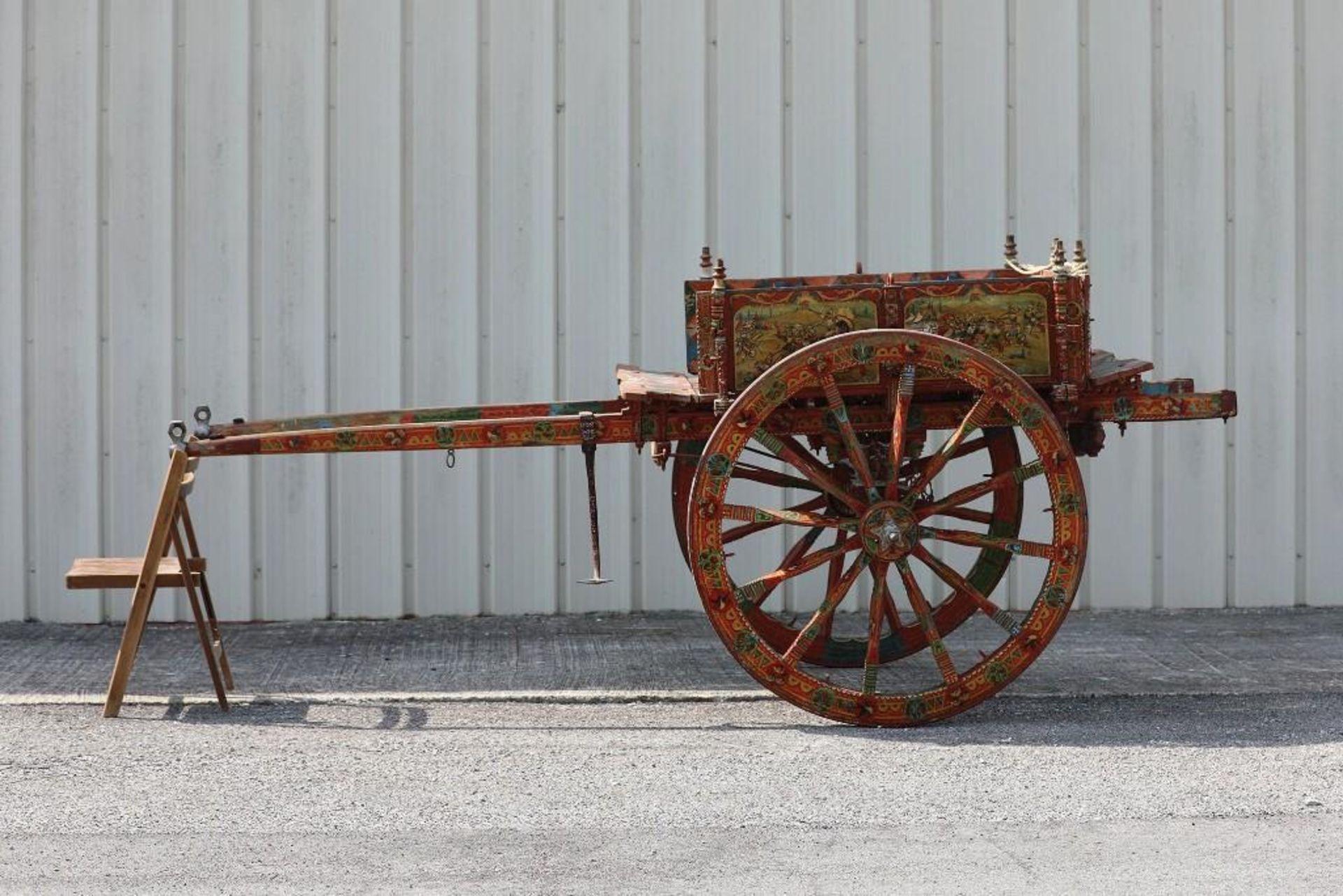 SPANISH GYPSY 2-Wheel Cart, Hand Carving & Paint