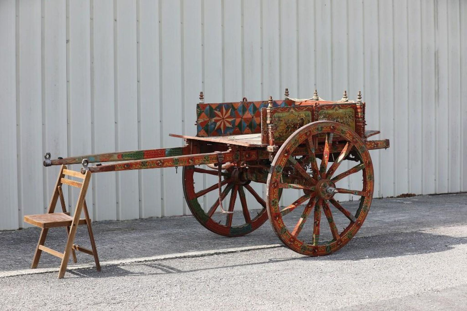SPANISH GYPSY 2-Wheel Cart, Hand Carving & Paint - Image 2 of 3