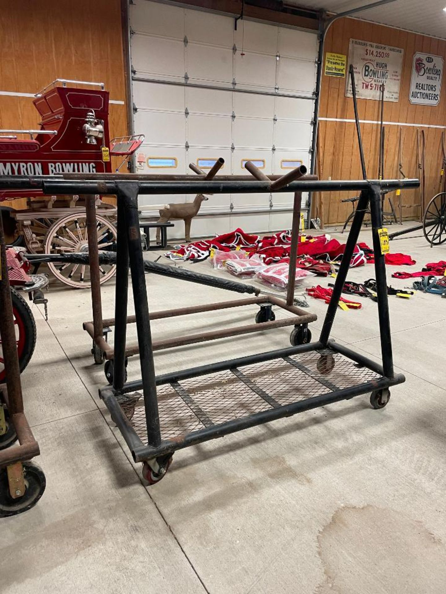 58'' x 94'' Steel Harness Rack on Rubber Casters w/Brakes