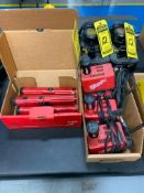 (5) MILWAUKEE 1/4'' CORDLESS SCREWDRIVERS, (4) 2.4 V. BATTERY CHARGERS W/ BATTERIES