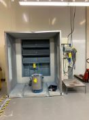RECLAIM PAINT BOOTH, BOLTED METAL CONSTRUCTION, EST. 8'H X 8'W X 8'L OVERALL DIMENSIONS, RAIL-MOUNTE