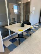 CAFETERIA TABLES 3' X 3', (6) CHAIRS, MICROWAVE, KEURIG COFFEE MAKER