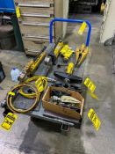 ASSORTED ENERPAC HYDRAULIC KIT, (2) ENERPAC HYDRAULIC PUMPS, (3) SPREADERS, (3) PORTABLE LONG TRAVEL