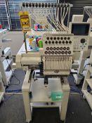 2017 TOKIA TAJIMA ELECTRONIC AUTOMATIC SEWING EMBROIDERY MACHINE, MODEL TMBP-S1501C, 15-THREAD SPOOL