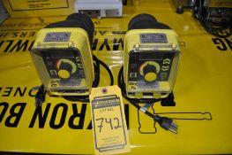 (2) LMI MILTON ROY MICROPROCESSOR DOSING PUMPS, MODEL: AA941-155S, 120 VAC, MAX GPH: .58, PSI: 250