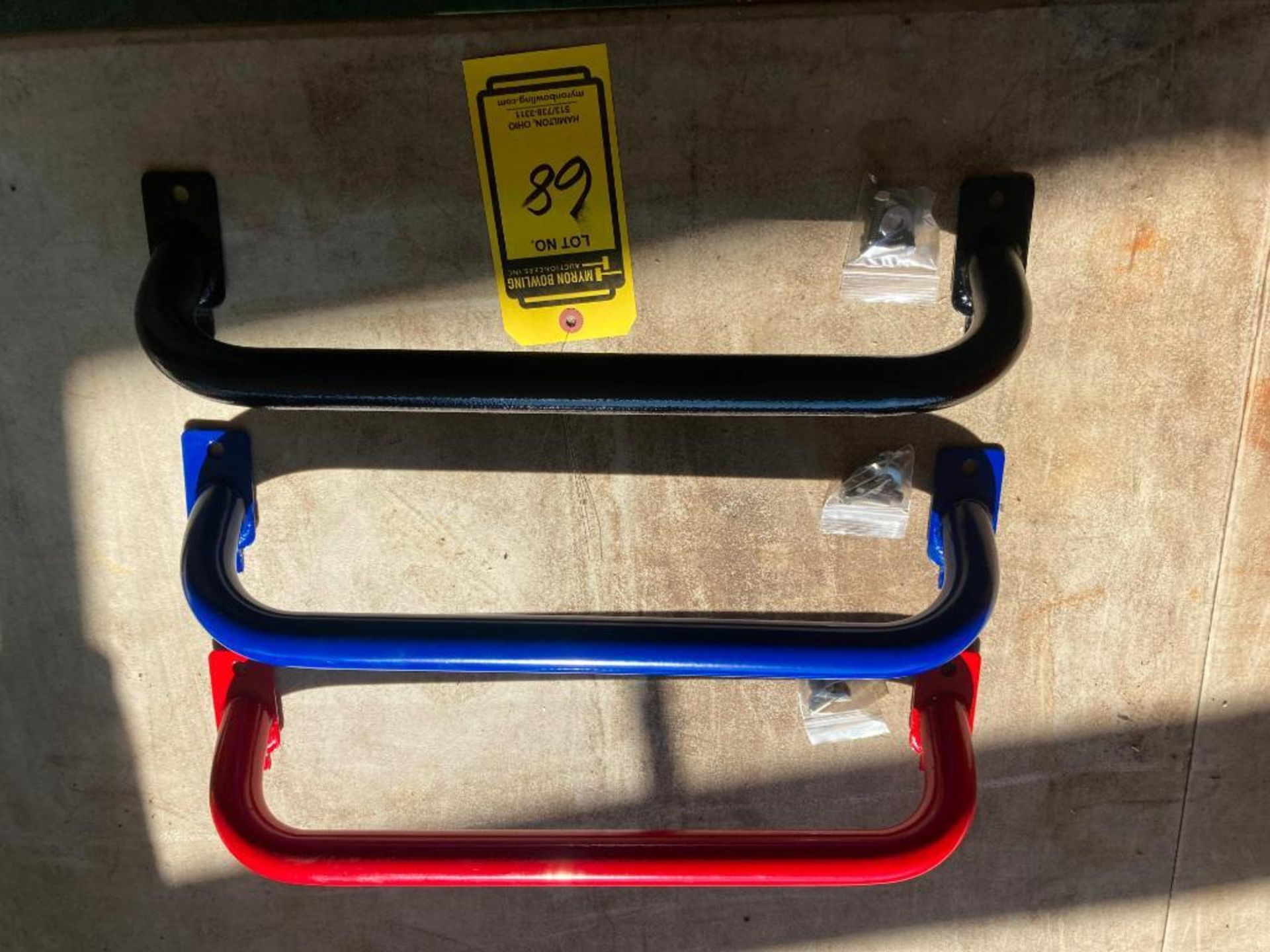 (NEW) PAINTED RED OR BLACK; ROLLING CART HANDLES. APPROXIMATE VOLUME; 20''W X 3'' - Image 2 of 3