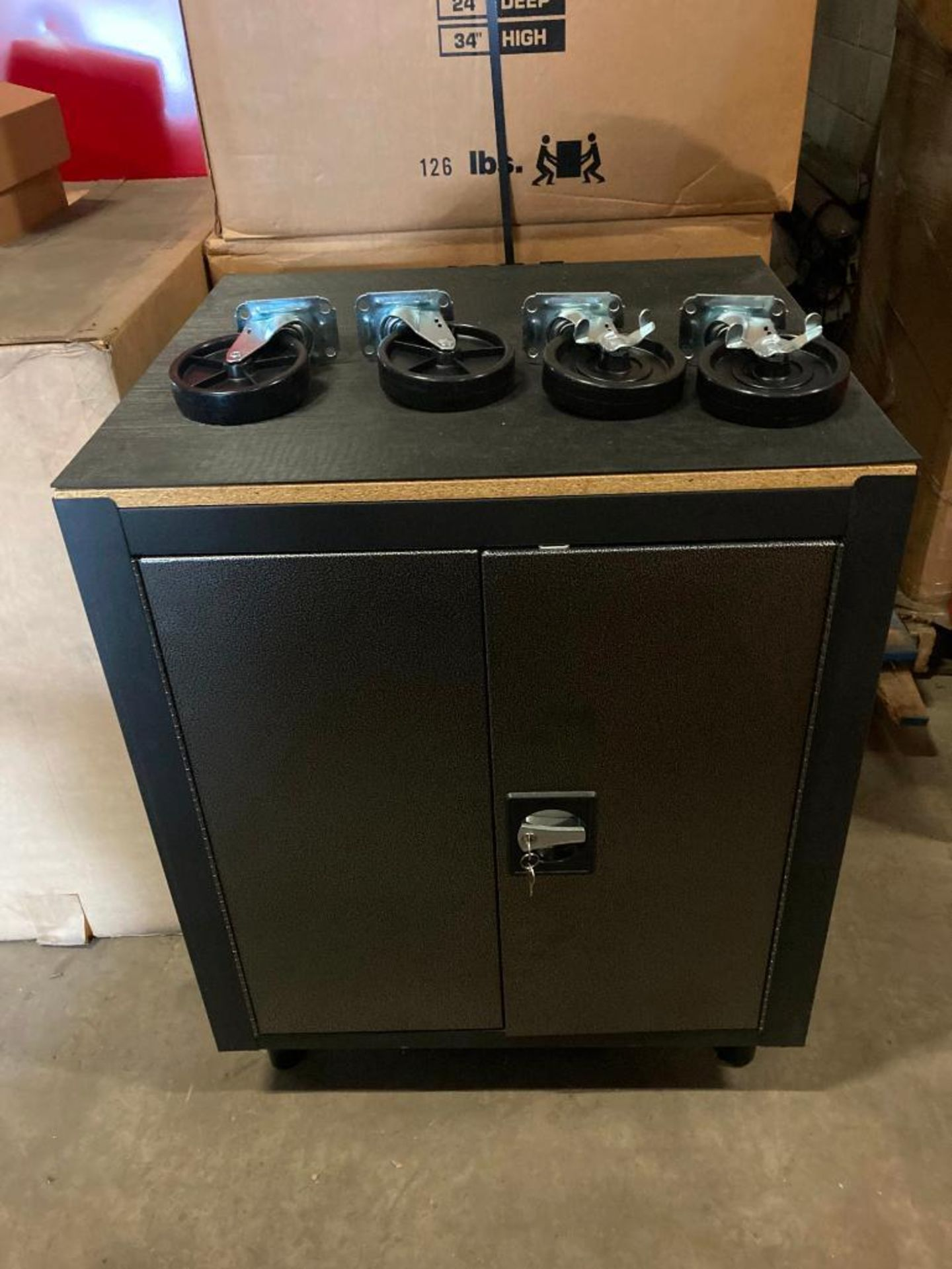 (5X) (NEW) MOBILE CABINET WITH WOOD TOP; 26.5''W X 24''D X 34''H; 126-LBS; ONE PULL SHELF; LOCKING