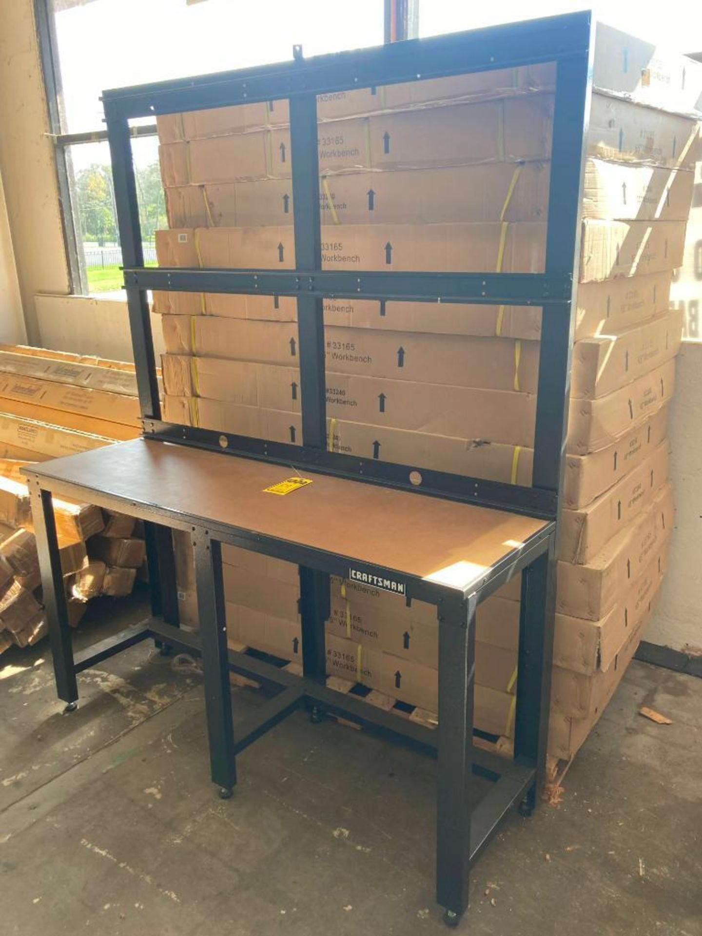 (5X) (NEW) SEARS CRAFTSMAN WORKBENCHES, 6-LEG, 65'' X 20'', ADJUSTABLE FEET, UPRIGHT WALL BACKS INCL - Image 2 of 2