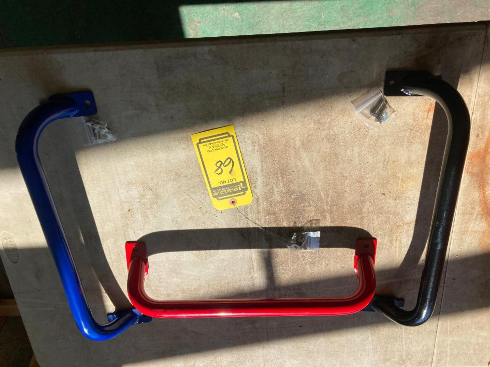 (NEW) PAINTED RED OR BLACK; ROLLING CART HANDLES. APPROXIMATE VOLUME; 20''W X 3''