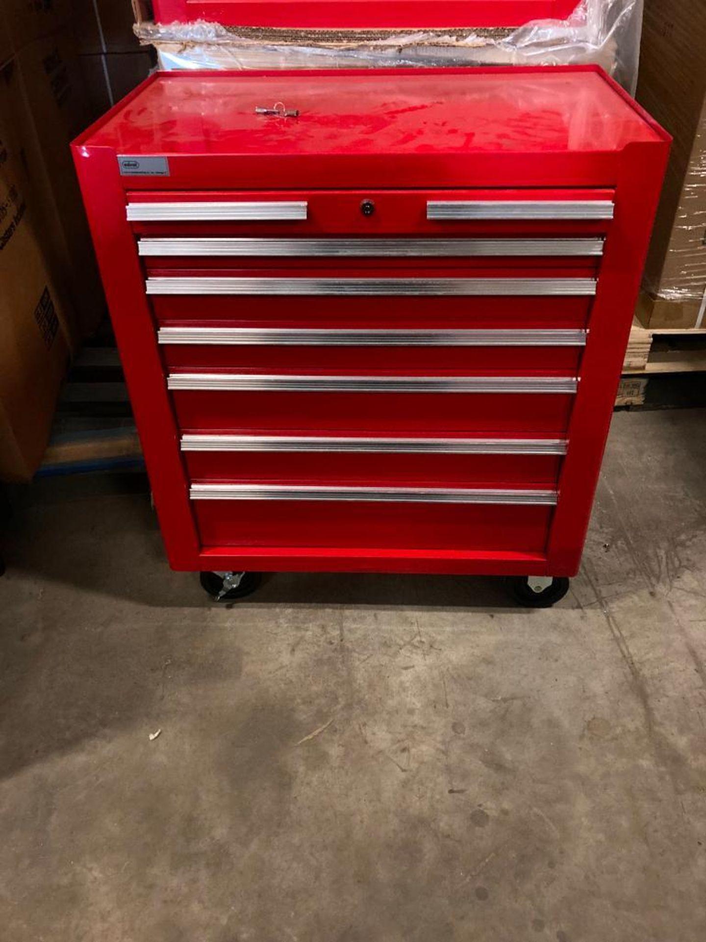 (NEW) EDSEL 7-DRAWER ROLLING TOOL BOX BASE CABINET; 31.5''W X 19''D X 36''H; LOCKING W/KEYS