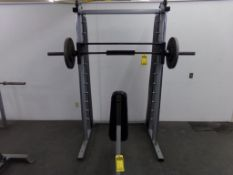 WEIGHT LIFTING MACHINE, (2) 45 LB. BARBELL WEIGHTS, (2) BENCHES