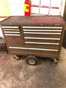 ROLLING KENNEDY 10-DRAWER TOOLBOX, W/ CONTENT
