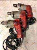 (3) MILWAUKEE ELECTRIC 3/8'' DRILLS