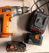 RIDGID 18 VOLT CORDLESS 1/2'' DRILL, MODEL R83015, W/ (2) BATTERIES AND A CHARGER