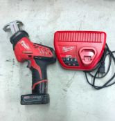 MILWAUKEE CORDLESS HACK SAW, S/N 856ED172801981, W/ (1) BATTERY AND CHARGER