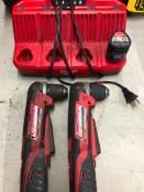 (2) MILWAUKEE CORDLESS 3/8'' RIGHT ANGLE DRILLS, W/ (1) BATTERY AND 4-STATION CHARGER