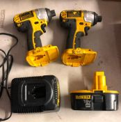 (2) DEWALT 18 VOLT CORDLESS 1/4'' IMPACT DRIVERS, MODEL DC825, W/ BATTERY AND CHARGER
