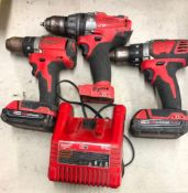 (3) MILWAUKEE CORDLESS 1/2'' DRILLS, W/ (2) BATTERIES AND A CHARGER
