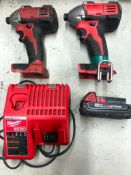 (2) MILWAUKEE CORDLESS IMPACT DRIVERS, W/ (1) BATTERY AND CHARGER