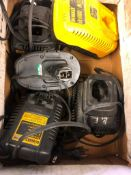 ASSORTED DEWALT BATTERY CHARGERS AND BATTERY