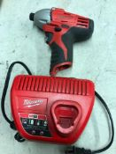 MILWAUKEE CORDLESS IMPACT DRIVER AND CHARGER