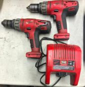 (2) MILWAUKEE 1/2'' HAMMER DRILLS, W/ CHARGERS