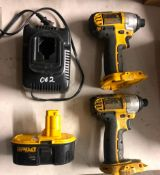 (2) DEWALT 18 VOLT CORDLESS 1/4'' IMPACTS, W/ (1) BATTERY AND CHARGER