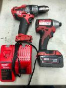 (1) MILWAUKEE CORDLESS 1/4'' IMPACT DRIVER, (1) MILWAUKEE DRILL, W/ (1) BATTERY AND CHARGER