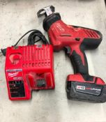 MILWAUKEE CORDLESS HACK SAW, S/N C41DD153001986, W/ (1) BATTERY AND CHARGER