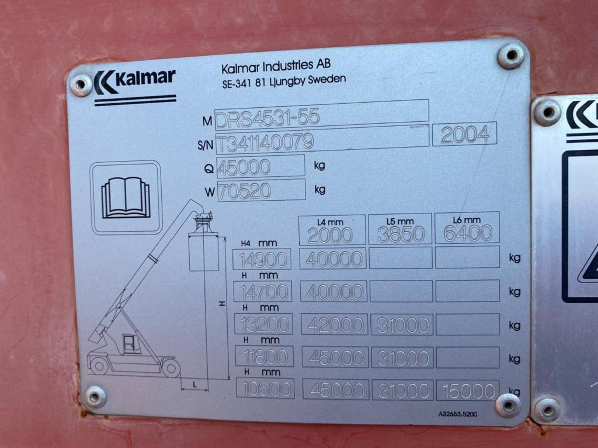 Reach Stacker marca Kalmar, año 2004, modelo DRS4531-55, No de serie T341140079 - Image 54 of 57