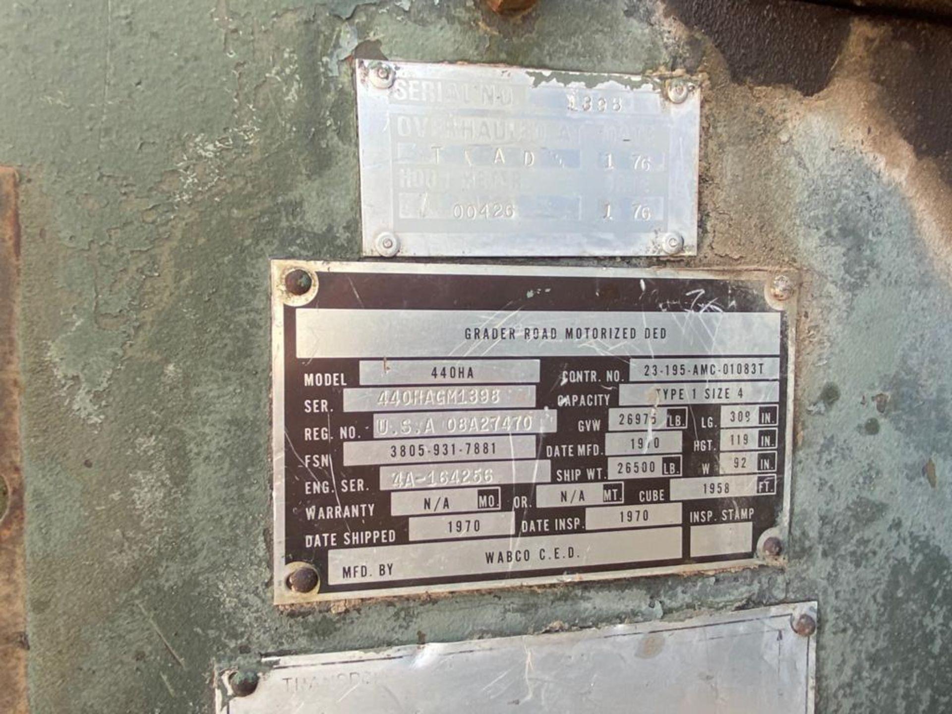1970 Wabco4 440H Motor Grader, Serial number 440HAGM1398, Motor number 4A156316*RC*4057C - Image 65 of 77