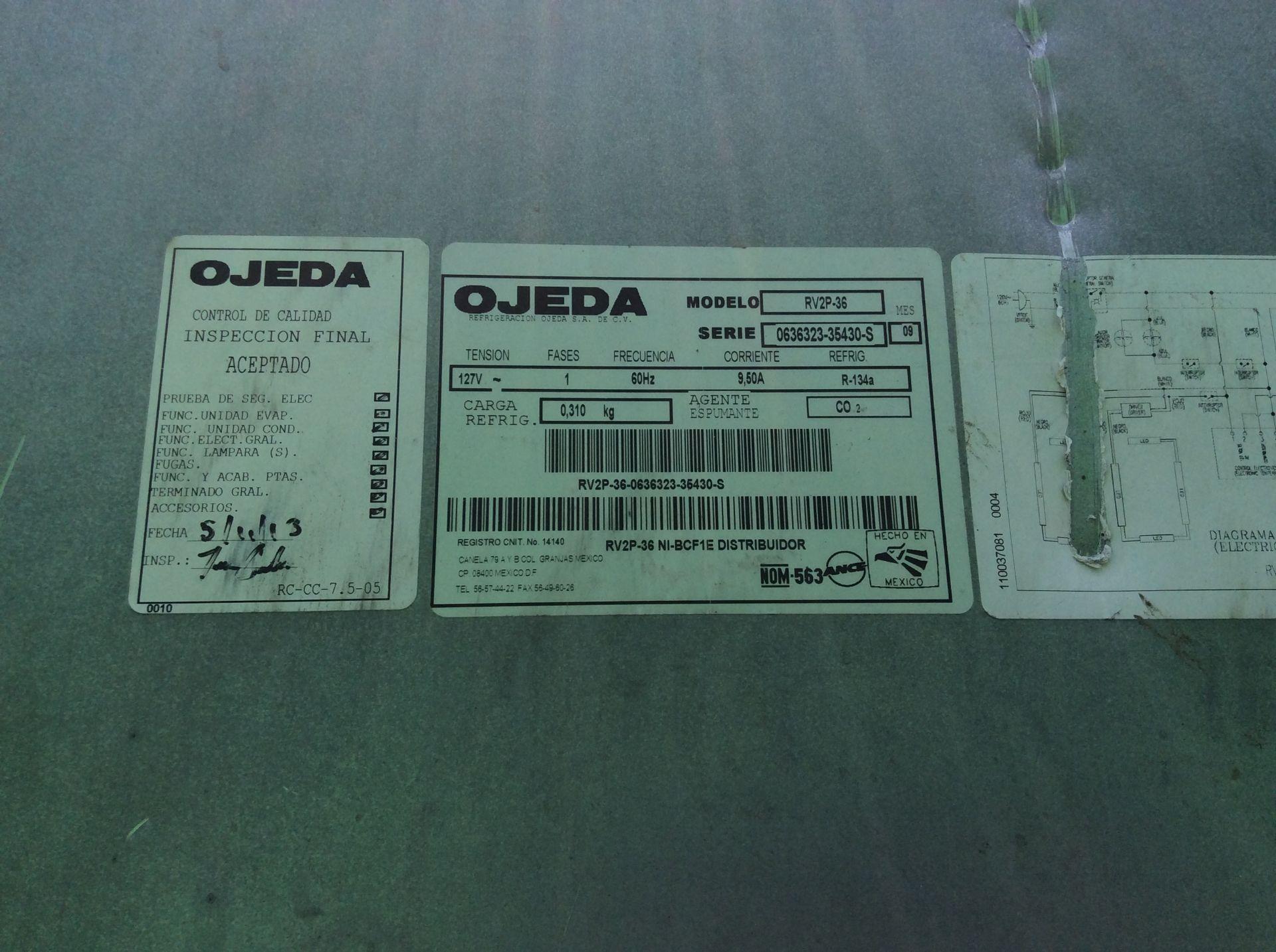 1 Ojeda refrigerator of double glass door model RV2P36 serial number 0636323-34305 120V - Image 5 of 14