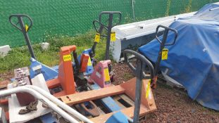 6 Manual hand pallet trucks , different models and capacities. Please inspect