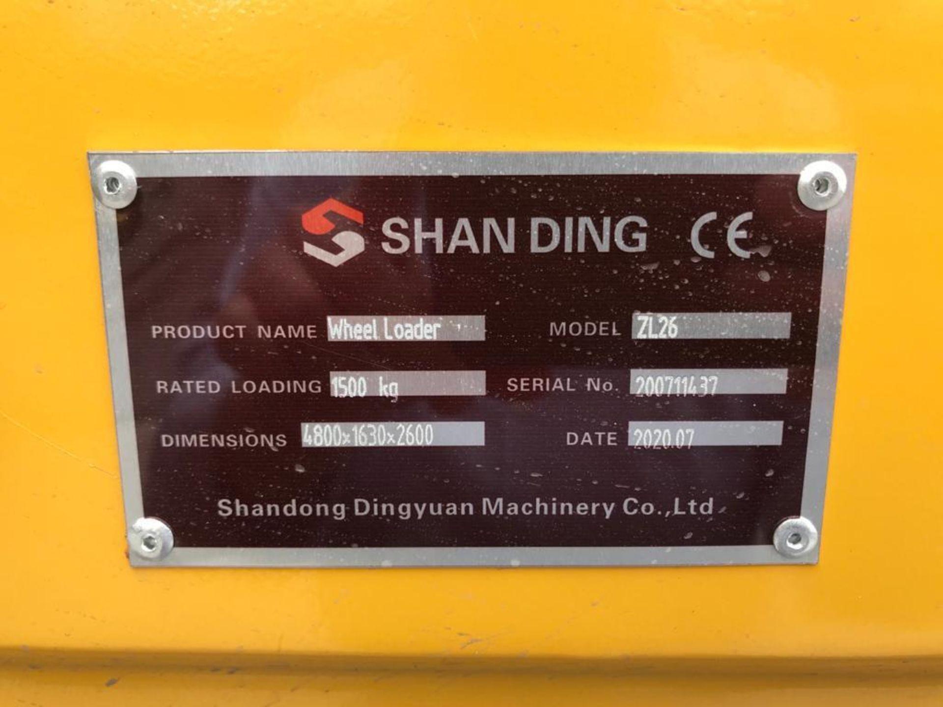 2020 Shang Ding (Wheel Loader) ZL26 Front Loader Serial number 200711437, Loading capacity 1,500 kg - Image 15 of 17