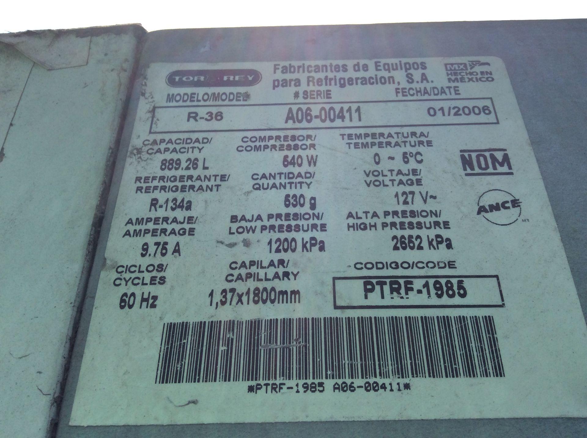 1 Ojeda refrigerator of double glass door model RV2P36 serial number 0636323-34305 120V - Image 10 of 14