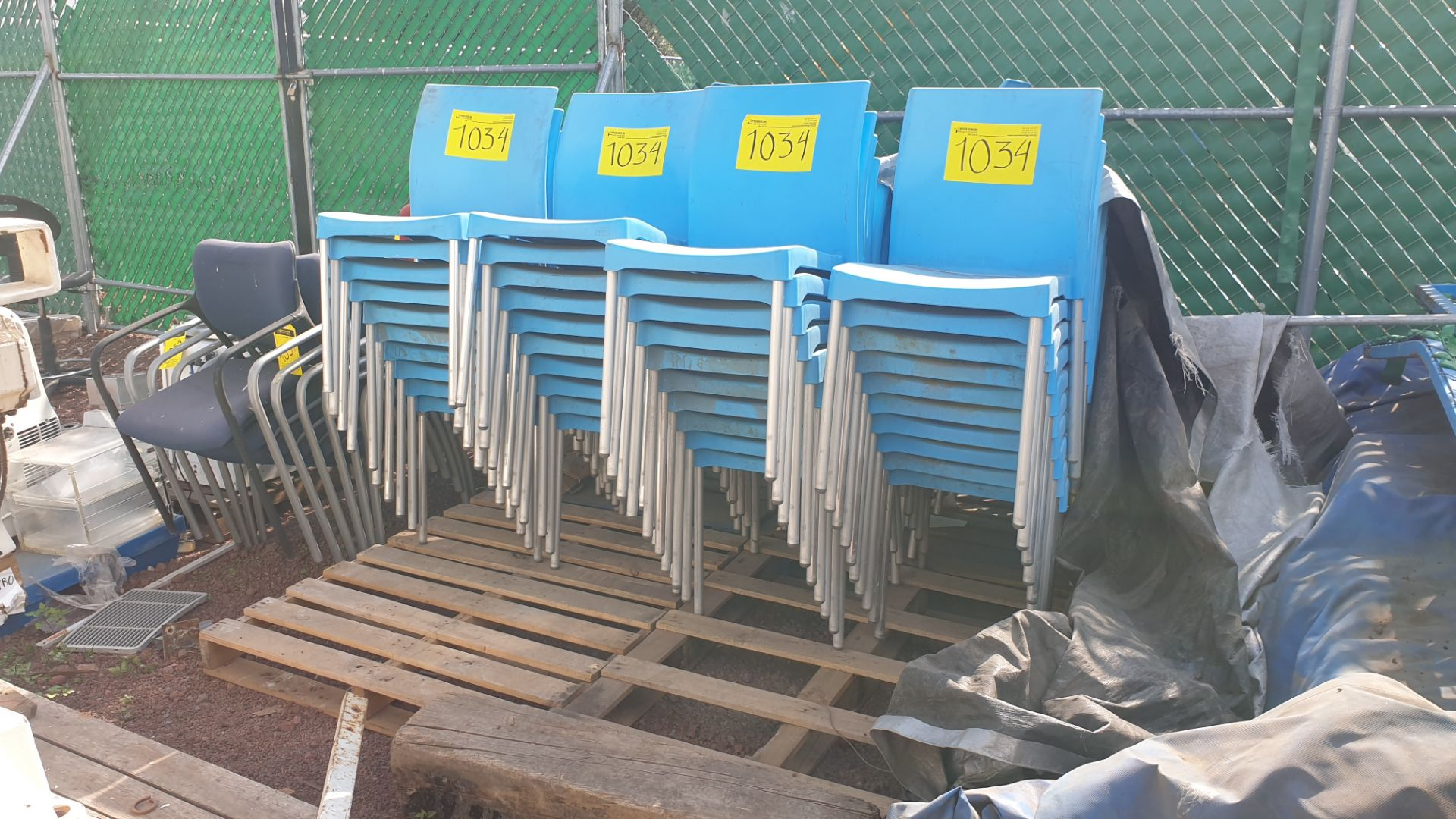 Lot of 40 blue plastic chairs, includes 7 metal office chairs with upholstered back and seat