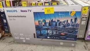 """Lote de 3 Pantallas incluye 2 Pantalla marca Phillips Roku TV 4k de 70"""""""