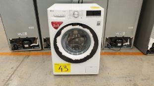 1 Lavadora 2 en 1 marca LG de 12/7 kilos color blanco modelo, WD12WVC4S6