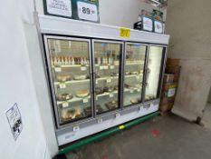 Vitrina refrigerada marca Hussmann de 4 puertas para pastelería