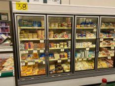 Vitrina refrigerada marca Hussmann de 8 puertas para exhibición de lácteos