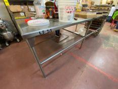 1 Mesa de trabajo de acero inoxidable medidas 1.10 x 2.50 x 0.88