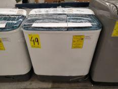 Lavadora 11 Kg, Marca Midea, Modelo MLTT11M2NUW, Serie 341D083250114211401070, Color Blanca, Golpea
