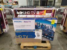 Lote de 12 pantallas de TV: TV LG 70UN7378PUC SMART 4K, 59760159762000331279; TV HISENSE 55H6G SMAR