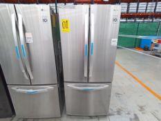 1 Refrigerador con 3 puertas, Marca LG, Modelo G22F22BGSK, Serie 107MRLM3H416, Color Gris, Golpeado